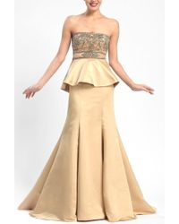 Sue Wong - W5206 Ornate Peplum Satin Gown - 1 Pc Gold In Size 12 Available - Lyst