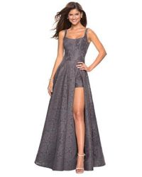 fa4aba1c51d9 La Femme - 27476 Classy Allover Lace Organza Gown With Romper Shorts - Lyst
