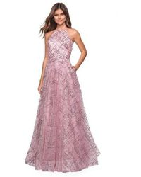9582ebfb3caf La Femme - 27451 Sequined Lattice High Halter A-line Gown - Lyst