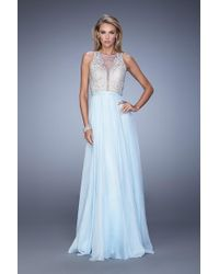 La Femme - 21212 Scallop Embroidered Illusion Gown - Lyst