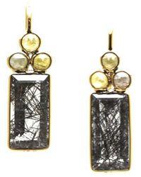 Trésor - K Yg Earring With Champagne Diamond & Black Rutile - Lyst