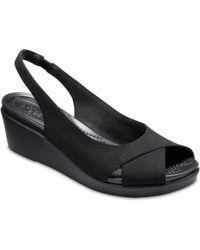 00837a6d8a82 Lyst - Crocs™ Leigh Ann Shimmer Slingback Wedge