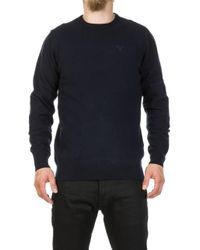 Barbour - Essential Lambswool Sweater Navy - Lyst