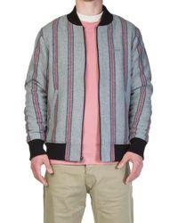 Stussy - Wool Stripe Bomber Jacket Grey - Lyst