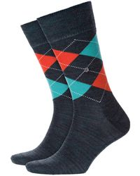 Burlington - Melange Edinburgh Socks Blue/orange - Lyst