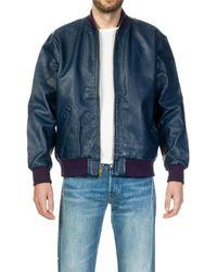 Levi's - Leather Bomber Dark Blue - Lyst