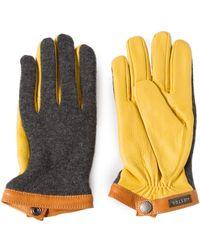 Hestra - Sport Classic Deerskin Wool Tricot Charcoal/yellow - Lyst