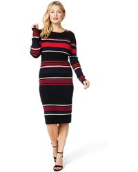 Cupcakes And Cashmere - Jaslene Striped Long-sleeve Sweater Dress - Lyst