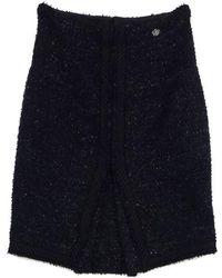 Chanel - Navy & Black Textured Wool Blend Skirt - Lyst