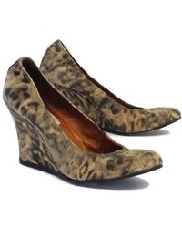 Lanvin - Beige & Grey Leopard Print Leather Wedges - Lyst