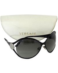 12355c1b2c4 Versace - Black Rounded Oversized Sunglasses - Lyst