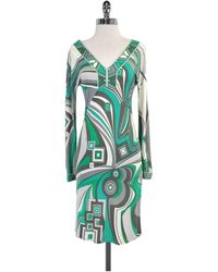 dca6890fd9ac6 Emilio Pucci - Teal   Grey Patterned V-neck Dress - Lyst