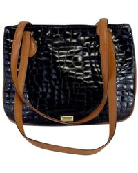 Moschino - Black & Brown Embossed Leather Handbag - Lyst