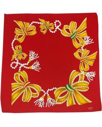 Chanel - Red Bows & Jewels Print Scarf - Lyst