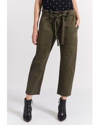 Current/Elliott - The Tabloid Cropped Cotton-blend Trousers - Lyst