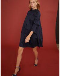 Cynthia Rowley - Eden Smocked Ruffle Neck Mini Dress - Lyst