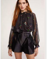 Cynthia Rowley - Phoebe Pleated Silk Wool Short - Lyst