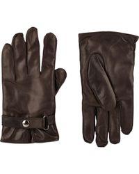 Barneys New York Snap-Wrist Gloves brown - Lyst