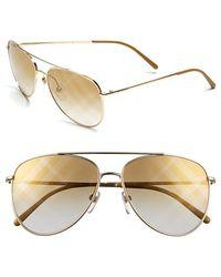 Burberry 57Mm Aviator Sunglasses - Lyst