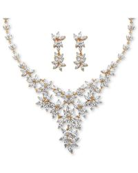 Palmbeach Jewelry - 56.11 Tcw Marquise-cut Cubic Zirconia Flower Motif Necklace And Earrings Set 14k Gold-plated - Lyst