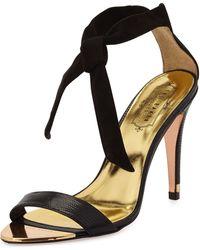 Ted Baker Sackina Suede Combo Tie Sandal Black Blk 9 12b - Lyst