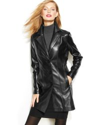 Anne Klein Single-breasted Leather Coat - Lyst