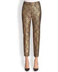 St. John Metallic Lace Trousers - Lyst