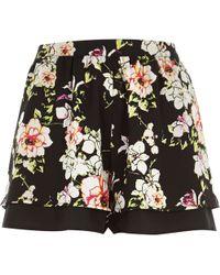 River Island Black Floral Print Shorts - Lyst
