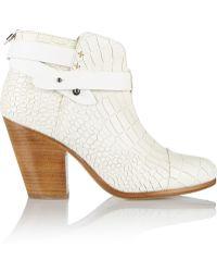 Rag & Bone Harrow Croc-Effect Leather Boots - Lyst