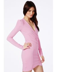 Missguided Amaline Cross Over Tailored Dress In Pink - Lyst