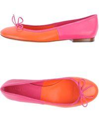Celine Orange Ballet Flats - Lyst