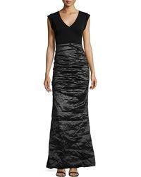 Nicole Miller Cap-Sleeve Combo Gown - Lyst