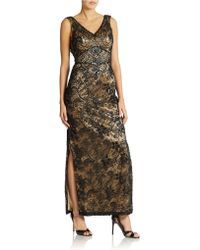 Sue Wong Embroidered Cowl Back Gown - Lyst