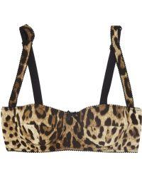 Dolce & Gabbana Leopard Print Stretch Silk Balconette Bra - Lyst