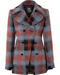 McQ by Alexander McQueen Wool Blend Plaid Pea Coat - Lyst