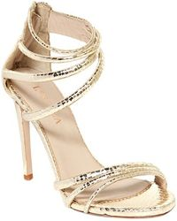 Le Silla 110MM Snake Embossed Leather Sandals - Lyst