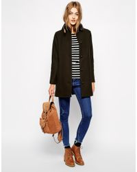 Sessun Sissi Wool Coat With Leather Tab Detail - Lyst