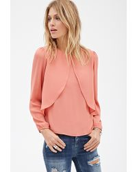 Love 21 Layered Split-Front Blouse - Lyst