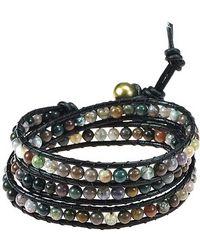Aeravida - Seven Color Jade Treasure Triple Wrap Leather Bracelet - Lyst