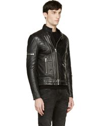 Surface To Air Black Leather Double Zip Takashi Biker Jacket - Lyst