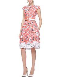 Oscar de la Renta Printed Belted Dress - Lyst