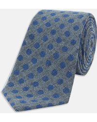 Turnbull & Asser | Slim Informalist Grey And Blue Spot Cashmere Blend Tie | Lyst