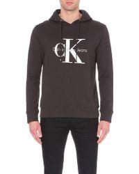 Calvin Klein Logo-Print Cotton Hoody - For Men brown - Lyst