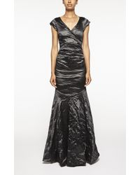 Nicole Miller Ruched Mermaid Gown black - Lyst