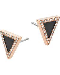 Michael Kors Black Onyx And Rose Goldtone Triangle Stud Earrings gold - Lyst