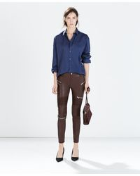 Zara Trousers with Zips - Lyst