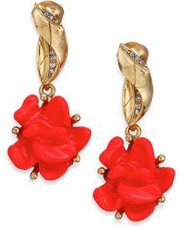 Oscar de la Renta | Floral Resin & Crystal Clip-on Drop Earrings | Lyst