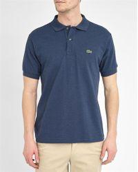 Lacoste   Mottled-blue Logo Short-sleeved Polo Shirt   Lyst