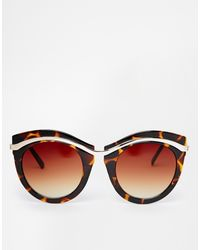 Asos Metal Round Sunglasses with Built Up Highbrow - Lyst