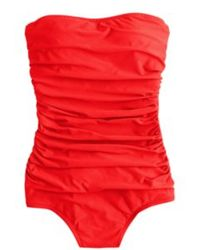 J.Crew Long Torso Ruched Bandeau Tank red - Lyst